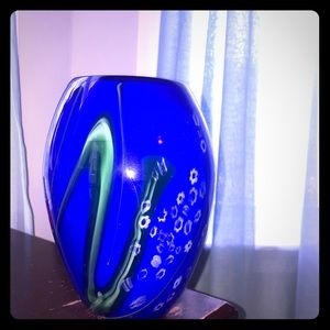 Blue blown glass vase